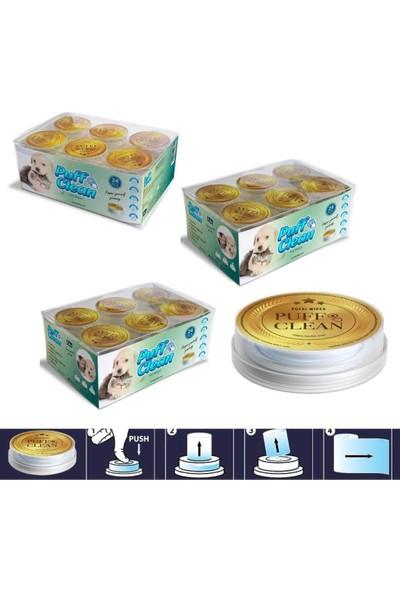 Pufai Puff Clean Extra Nem ve Yoğunluğa Sahip Doğal Köpek Temizleme Mendilleri 72 Kapsül 3 Kutu