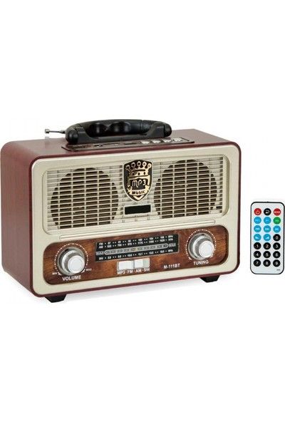 Sezy 111 Bt Şarjlı Nostaljik Radyo Bluetootlu Kumandalı Usb/sd