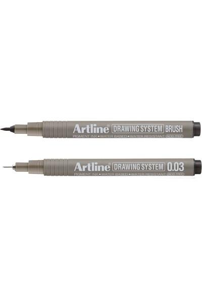 Artline Drawing System Teknik Çizim Kalemi Brush + 0.03 mm