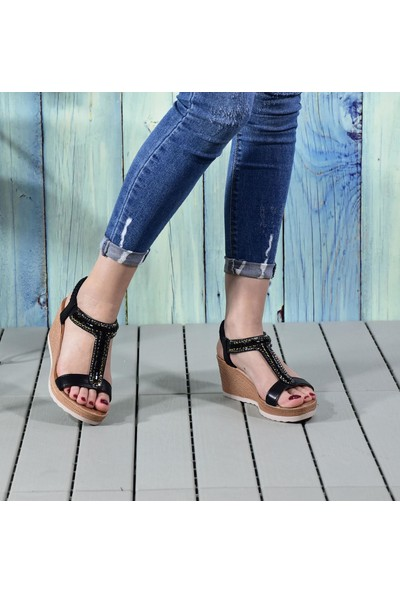 Kadın Dolgu Topuk Taşlı Fashion Sandalet
