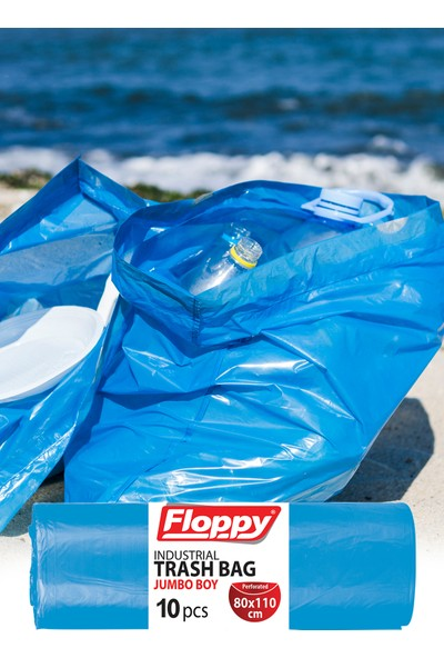 Floppy Endüstriyel Jumbo Boy Çöp Torbası 80X110 cm 10'lu 90 Lt 800 gr Mavi 6 'li