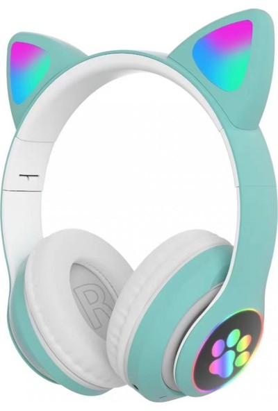 TEKNETSTORE Kablosuz Kedi Kulaklık Işıklı Kulaküstü Mikrofonlu Bluetooth Hafıza Kartı Girişli Çocuk Kulaklığı Wireless