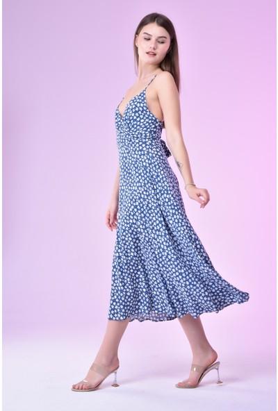 Avver Kadın Mavi Ince Askılı Kruvaze Çiçek Desenli Elbise