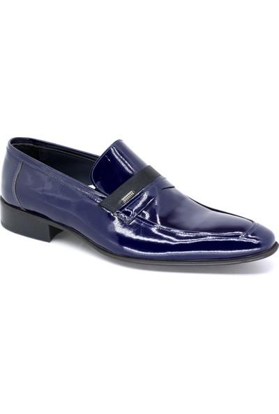 Oskar 727 Erkek Neolit Taban Hakiki Deri Lacivert-Rugan Klasık Ayakkabı