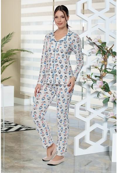 Alperi Boydan Düğmeli Uzun Kol Pijama Takımı