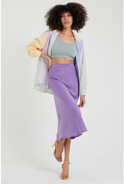 4 Sisters Fashion Lila Midi Boy Saten Etek