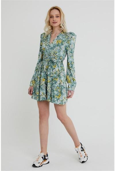 4 Sisters Fashion Vatkalı Prenses Kol Yeşil Çiçekli Mini Elbise