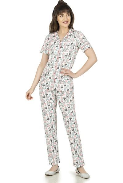Alperi Boydan Düğmeli Kısa Kol Pijama Takımı