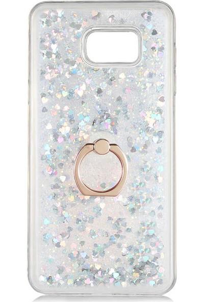 Nezih Case Samsung Note 5 Yüzüklü Standlı (Simli Pullu Sıvılı Akışkan) Silikon Kılıf Gümüş