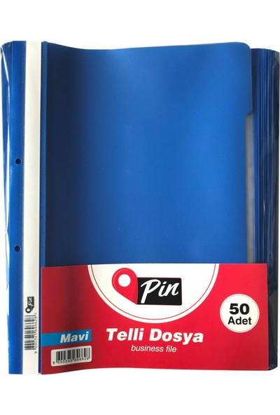 Pin Telli Dosya Mavi 50'li Paket
