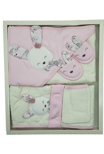 Gaye Bebe 826 Kız Bebek Tavşan Aplikeli Lüks Bebek Bornoz Takımı