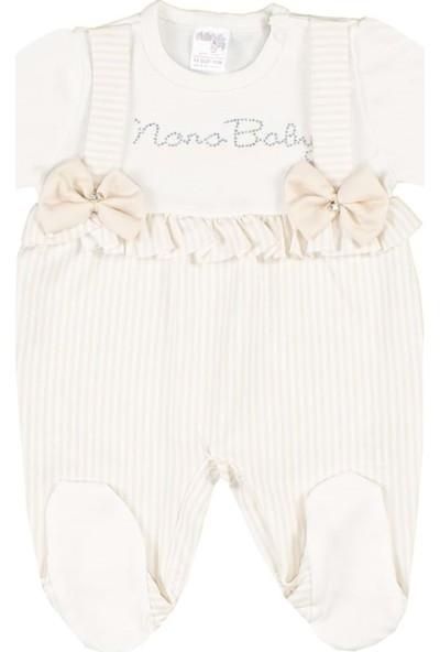 Nono Baby Kız Bebek Tulum Fiyonklu Askılı - Sarı - 0-3 Ay
