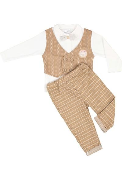 Nono Baby Erkek Bebek Takım Armalı Papyonlu - Kahverengi - 3-6 Ay