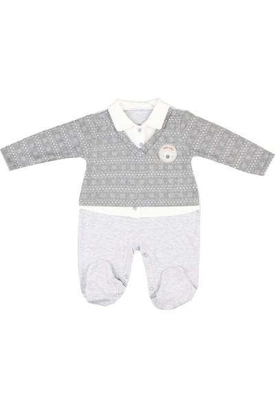 Nono Baby Erkek Bebek Tulum Kazaklı Armalı - Gri - 0-3 Ay