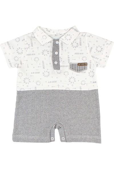Nono Baby Erkek Bebek Tulum Cep Kapalı Katlı Lacost Yakalı - Gri - 0-3 Ay