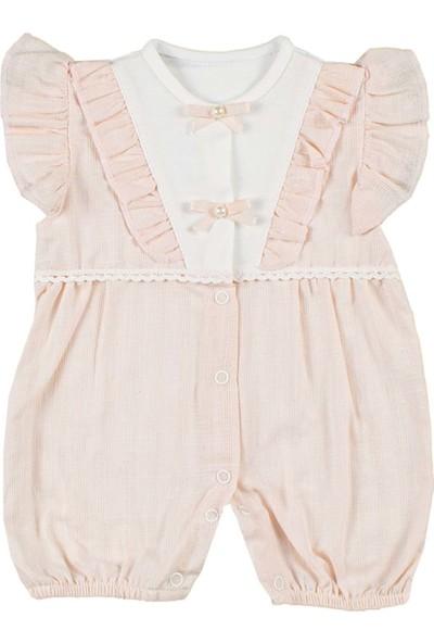 Nono Baby Kız Bebek Tulum Dokuma V Yakalı Fırfırlı - Pudra - 0-3 Ay