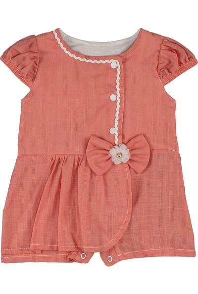 Nono Baby Kız Bebek Şort Etekli Tulum Fırfırlı - Nar Çiçeği - 0-3 Ay