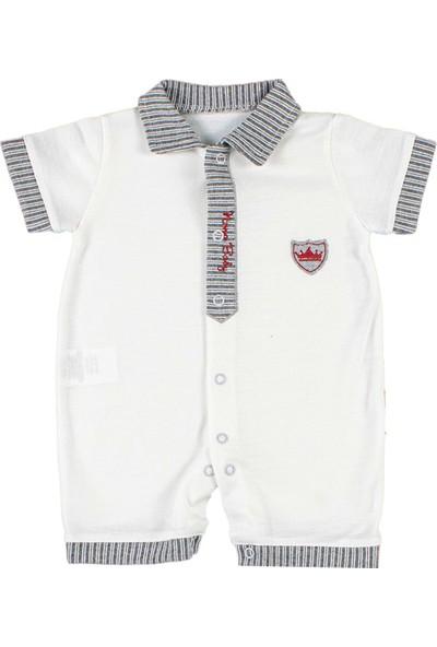 Nono Baby Erkek Bebek Tulum Çizgili Patlı - Gri - 0-3 Ay