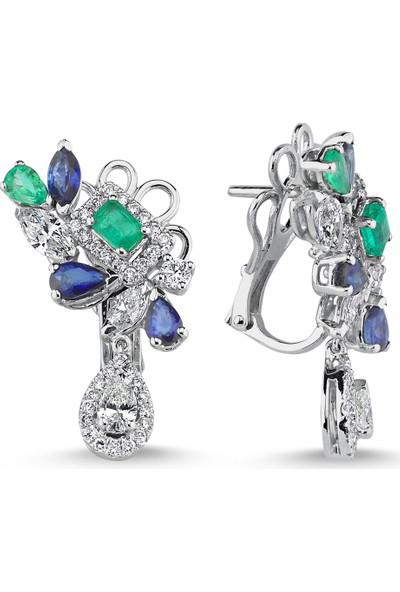 Sira Mücevherat Zümrüt - Safir Diamond Küpe - Beyaz Altın