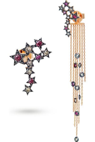 Sira Mücevherat Kutup Yıldızı Küpe - Rose