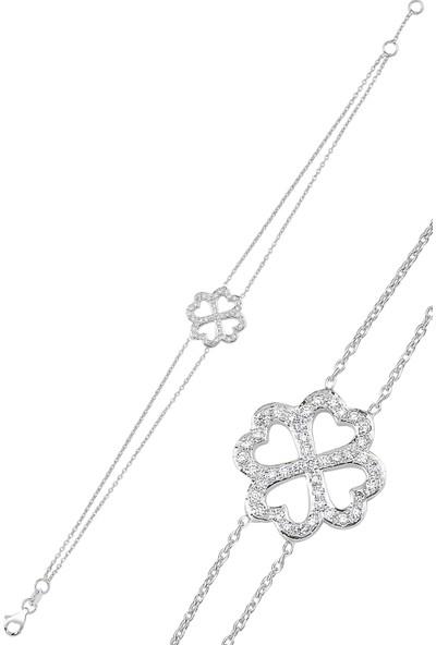 Sira Mücevherat Kalpli Bileklik - Beyaz Altın