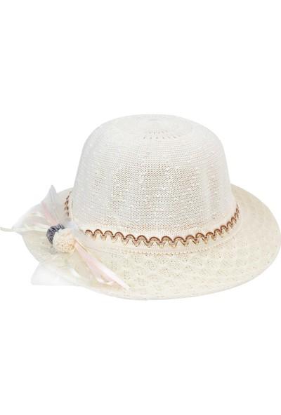 Kitti Kız Çocuk Hasır Şapka 6-12 Yaş Ekru