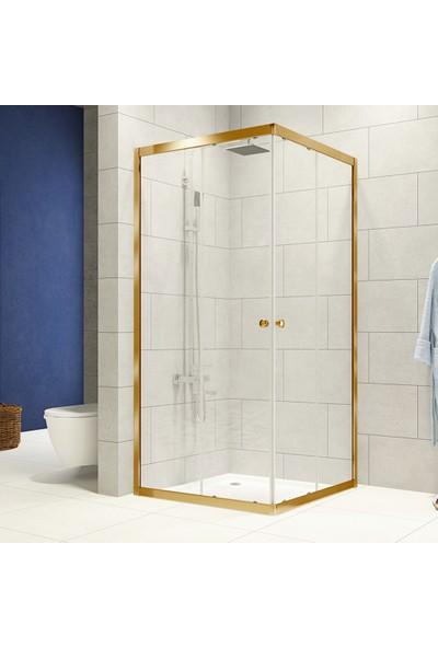 Durul Duşakabin 100X120 Altın Profil 4mm Şeffaf Cam - Duş Teknesiz H:180 cm