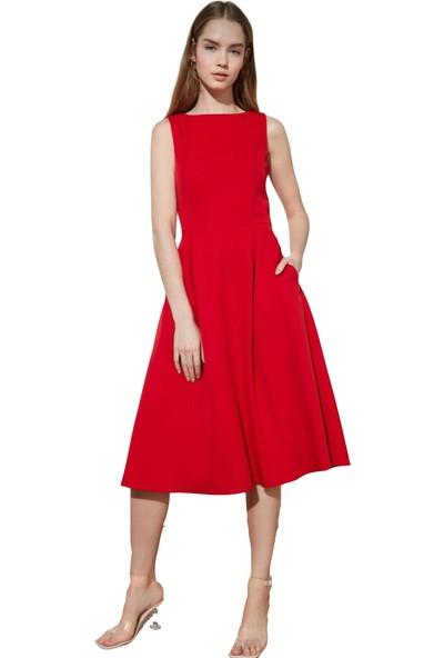 Zy Plus Kırmızı Kolsuz Midi Boy Elbise
