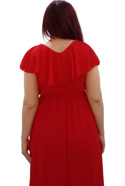 Chiffon Kırmızı Şifon Boydan Elbise