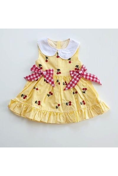 Cumino Kız Bebek Sarı Beyaz Yakalı Fiyonklu Kiraz Desenli Fermuarlı Elbise