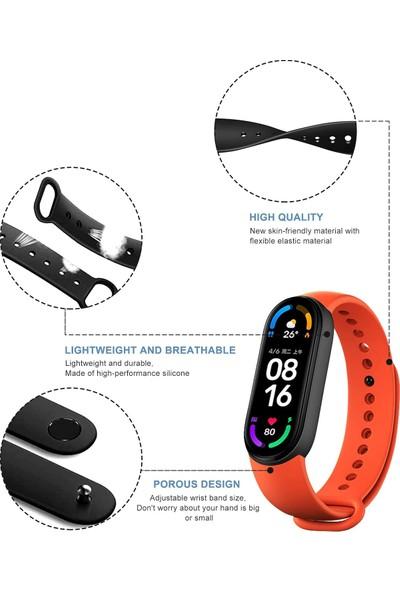 Uks Case Xiaomi Smart Band 6 Mat Yüzey Renkli Silikon Kordon Bordo