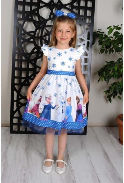 MNK Beyaz Elsa Kız Çocuk Elbise