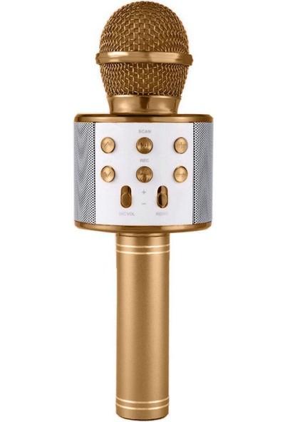 Blupple WS-858 Karaoke Mikrofon Bluetooth Kablosuz Usb, Hafıza Kartı ve Aux Girişli Taşınabilir Eğlenceli Çocuk Müzik Dans Gold