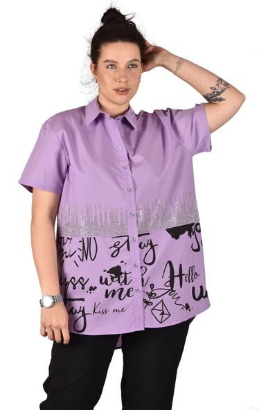 Ultimod Lila Önü Baskılı Taş Detaylı Likralı Poplin Büyük Beden Kadın Gömlek ULT3235