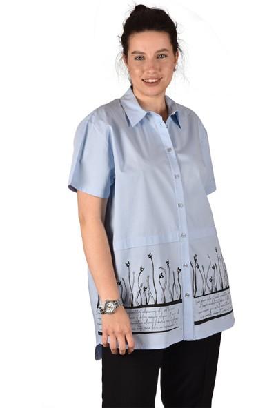 Ultimod Mavi Önü Baskılı Taş Detaylı Likralı Poplin Büyük Beden Kadın Gömlek ULT3232