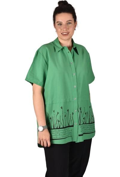 Ultimod Yeşil Önü Baskılı Taş Detaylı Likralı Poplin Büyük Beden Kadın Gömlek ULT3232