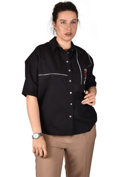 Ultimod Siyah Baskılı Büyük Beden Kadın Gömlek ULT3242