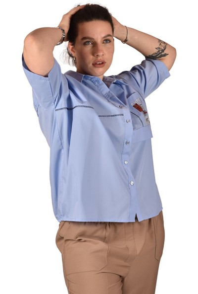 Ultimod Mavi Baskılı Büyük Beden Kadın Gömlek ULT3242