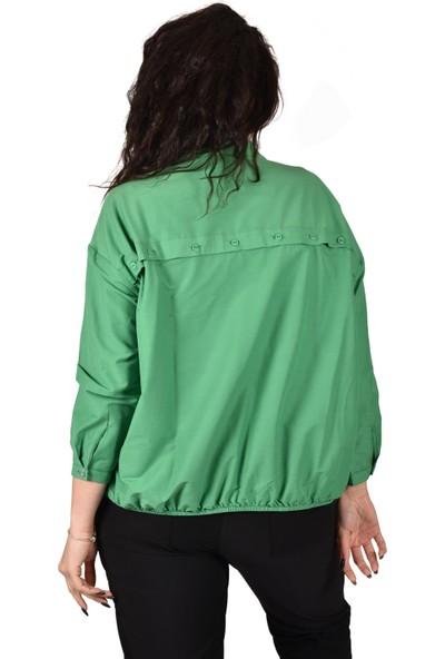 Ultimod Yeşil Baskılı Büyük Beden Kadın Gömlek ULT3242