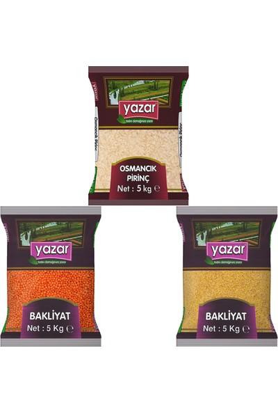 Yazar 3'lü Kumanya Gıda Ziyafet Paketi 5 Kg. Osmancık Pirinç + 5 Kg. Kırmızı Mercimek + 5 Kg. Pilavlık Bulgur