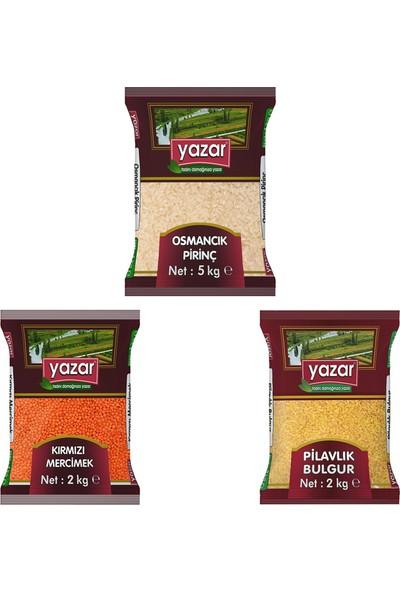 Yazar 3'lü Kumanya Gıda Ziyafet Paketi 5 Kg. Osmancık Pirinç + 2 Kg. Kırmızı Mercimek + 2 Kg. Pilavlık Bulgur