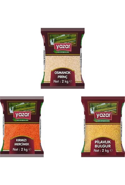 Yazar 2 Kg'lık 3'lü Kumanya Gıda Ziyafet Paketi 2 Kg. Osmancık Pirinç + 2 Kg. Kırmızı Mercimek + 2 Kg. Pilavlık Bulgur