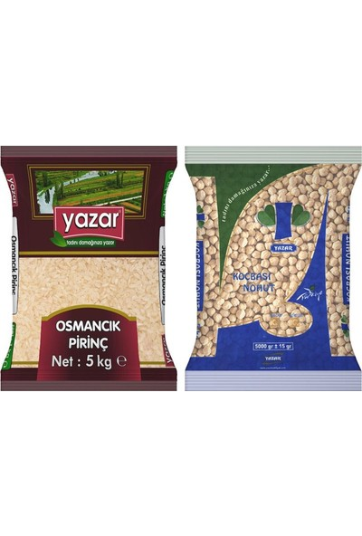 Yazar 2'li Kumanya Gıda Ziyafet Paketi 5 Kg. Osmancık Pirinç + 5 Kg. Koçbaşı Nohut