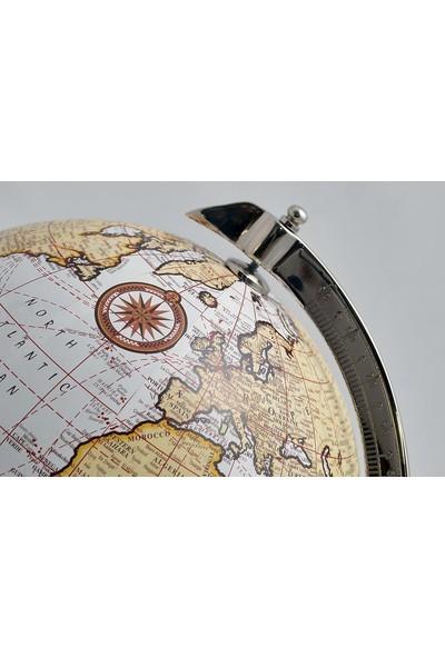 Zen Ayaklı Ahşap Dekoratif Dünya Küre 10 Inç 40 cm Hediyelik