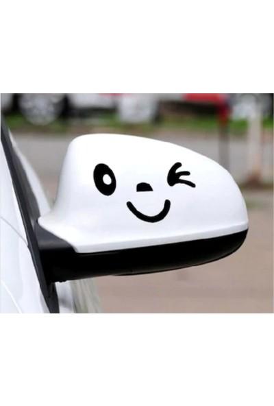 Sticker Fabrikası 2 Adet Araba Araç Oto Yan Ayna Gülen Yüz Araba Sticker 00968