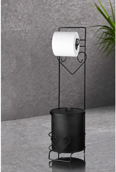 Hometarz Metal Wc Peçetelik Çöp Kovalı Kağıtlık Seti 54 Cm Kalpli