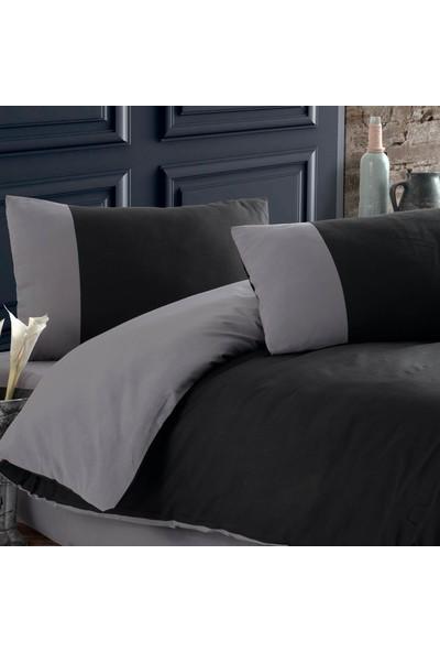 Cotton Touch Plain Series Çift Taraflı Siyah & Gri Tek Kişilik Nevresim Takımı