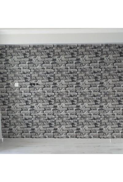 Oskar 3 Boyutlu Simli Siyah Taş Desenli Duvar Kağıdı