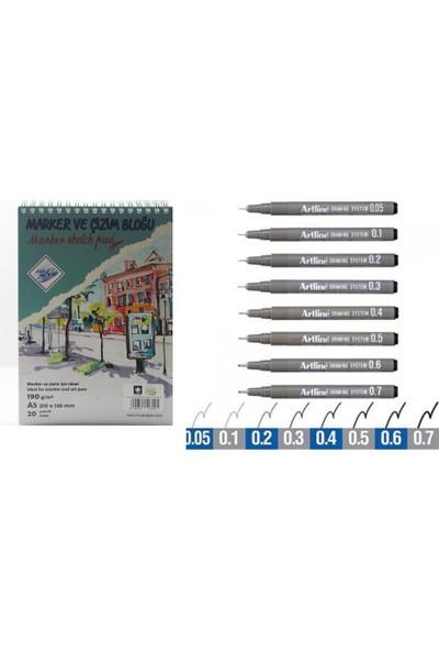 Art Liva A5 190 Gram 20 Sayfa Eskiz Defteri + Artline Teknik Çizim Kalemi 8'li Set
