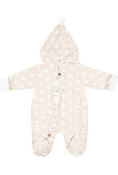 Nono Baby Kız-Erkek Bebek Wellsoft Takım Şapkalı Puantiyeli - Krem - 0-3 Ay